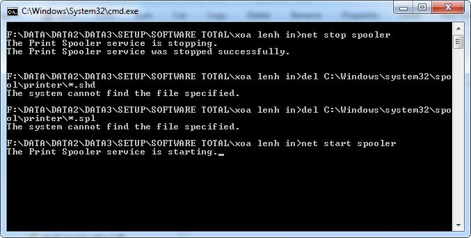 Hủy lệnh máy in bằng CMD chỉ cần một click chuột
