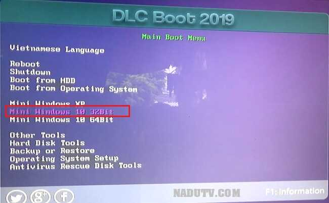 Ghost Win 7/8.1/10 bằng DLC boot