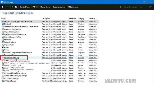 Sửa lỗi Search Windows 10