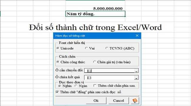 Đổi số thành chữ trong Excel/Word bằng VnTools