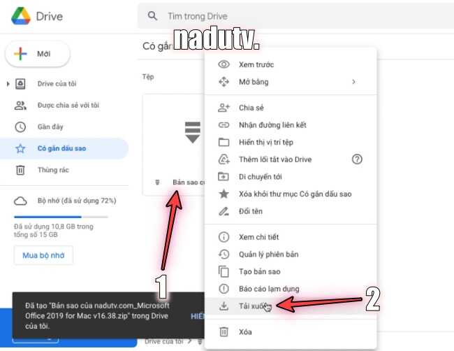 GoogleDrive quá giới hạn lượt tải