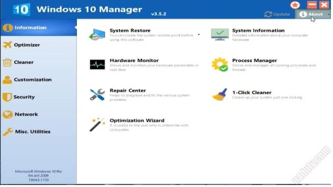Phần mềm tùy chỉnh Windows 10 Manager
